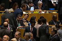 Nova York (EUA), 24/09/2019 - Assembléia Geral / ONU - Ricardo Salles e Eduardo Bolsonaro durante abertura da 74ª Assembleia Geral da Organização das Nações Unidas (ONU)  em Nova York nos Estados Unidos nesta terça-feira, 24. (Foto: William Volcov/Brazil Photo Press/Agencia O Globo) Mundo