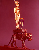 Egypt:  King upon a Leopard--gilded wood.  Treasures of Tutankhamun, Cairo Museum.  MMA 1976.
