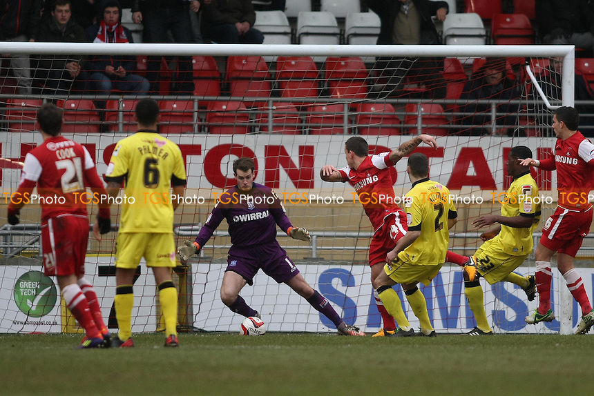 Charlie Macdonald of Leyton Orient scores the first goal- Leyton Orient vs Tranmere Rovers - NPower League One Football at the Matchroom Stadium, Brisbane Road - 09/02/13 - MANDATORY CREDIT: George Phillipou/TGSPHOTO - Self billing applies where appropriate - 0845 094 6026 - contact@tgsphoto.co.uk - NO UNPAID USE.