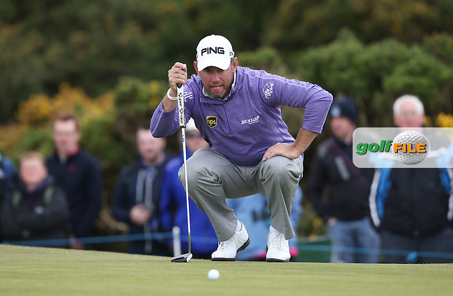 Lee Westwood (ENG) putting on the 8th during Round Three of the 2015 Dubai Duty Free Irish Open Hosted by The Rory Foundation at Royal County Down Golf Club, Newcastle County Down, Northern Ireland. 30/05/2015. Picture David Lloyd | www.golffile.ie