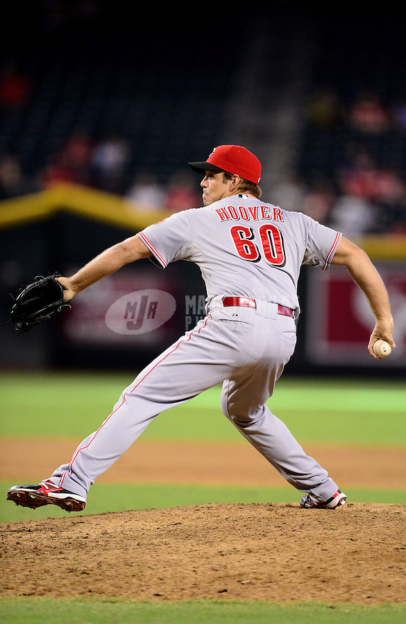 Aug. 29, 2012; Phoenix, AZ, USA: Cincinnati Reds pitcher J.J. Hoover  against the Arizona Diamondbacks at Chase Field. Mandatory Credit: Mark J. Rebilas-USA TODAY Sports