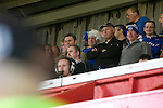 Bangor City 0 FC Honka 1, 23/07/2009. Racecourse Ground, Europa League. Bangor City supporters watching from the main stand at Wrexham's Racecourse Ground, the venue for their sides Europa League second round second leg tie against FC Honka from Finland. The match had to be staged away from City's Farrar Road ground as it did not meet UEFA's stadium standards. The Finns won 1-0 in Wales to go through 3-0 on aggregate in front of 602 spectators in the first season of the newly-introduced competition which replaced the UEFA Cup. Photo by Colin McPherson.