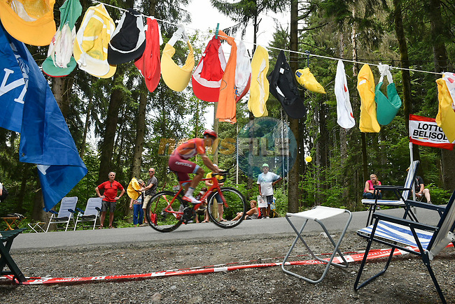 Jacopo Guarnieri (ITA) Team Katusha climbing during Stage 18 of the 2016 Tour de France a17km individual mountain time trial from Sallanches to Megeve, France. 21st July 2016.<br /> Picture: ASO/P.Ballet | Newsfile<br /> <br /> <br /> All photos usage must carry mandatory copyright credit (&copy; Newsfile | ASO/P.Ballet)