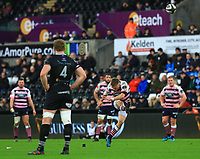 Cardiff Blues' Gareth Anscombe kicks a penalty.<br /> <br /> Photographer Dan Minto/CameraSport<br /> <br /> Guinness Pro14 Round 13 - Ospreys v Cardiff Blues - Saturday 6th January 2018 - Liberty Stadium - Swansea<br /> <br /> World Copyright &copy; 2018 CameraSport. All rights reserved. 43 Linden Ave. Countesthorpe. Leicester. England. LE8 5PG - Tel: +44 (0) 116 277 4147 - admin@camerasport.com - www.camerasport.com