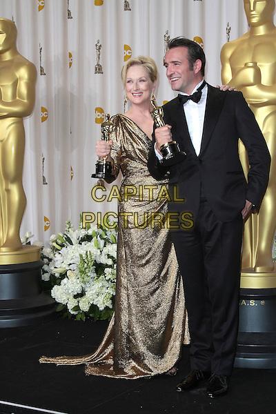 Meryl Streep & Jean Dujardin.84th Annual Academy Awards held at the Hollywood & Highland Center, Hollywood, California, USA..February 26th, 2012.oscars full length black tuxedo gold dress dress award trophy winner winners trophies .CAP/ADM/SLP/JO.©James Orken/ SLP/AdMedia/Capital Pictures.