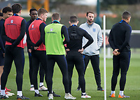 Gareth Southgate manager of England talks to his players during the England National Team Training ahead of the international friendly match with Italy at Tottenham Hotspur Training Ground, Hotspur Way, England on 26 March 2018. Photo by Vince  Mignott.