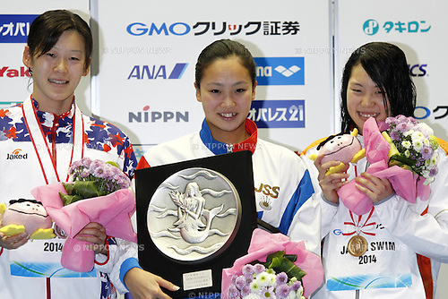 (L-R)<br /> Rie Kaneto,<br /> Kanako Watanabe,<br /> Mio Motegi,<br /> APRIL 13, 2014 - Swimming : <br /> JAPAN SWIM 2014 <br /> Women's 200m Breaststroke Vicrotry ceremony<br /> at Tatsumi International Swimming Pool, Tokyo, Japan. <br /> (Photo by AFLO SPORT)