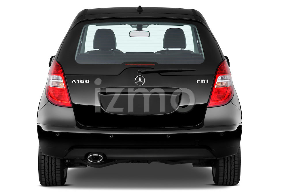 Straight rear view of a 2009 Mercedes A Class Blue Efficiency 3 Door Mini MPV