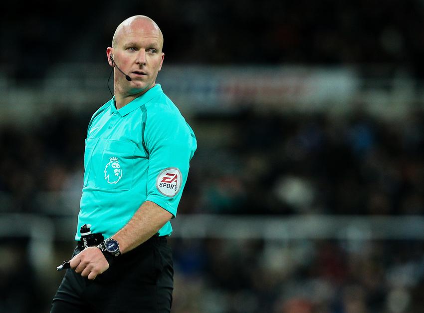 Referee Simon Hooper<br /> <br /> Photographer Alex Dodd/CameraSport<br /> <br /> The Premier League - Newcastle United v Burnley - Wednesday 31st January 2018 - St James' Park - Newcastle<br /> <br /> World Copyright &copy; 2018 CameraSport. All rights reserved. 43 Linden Ave. Countesthorpe. Leicester. England. LE8 5PG - Tel: +44 (0) 116 277 4147 - admin@camerasport.com - www.camerasport.com