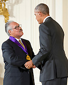 United States President Barack Obama presents the 2015 National Medal of Arts to Luis Valdez, Playwright, Actor, Writer, & Director of San Juan Bautista, California, during a ceremony in the East Room of the White House in Washington, DC on Thursday, September 22, 2016.<br /> Credit: Ron Sachs / CNP