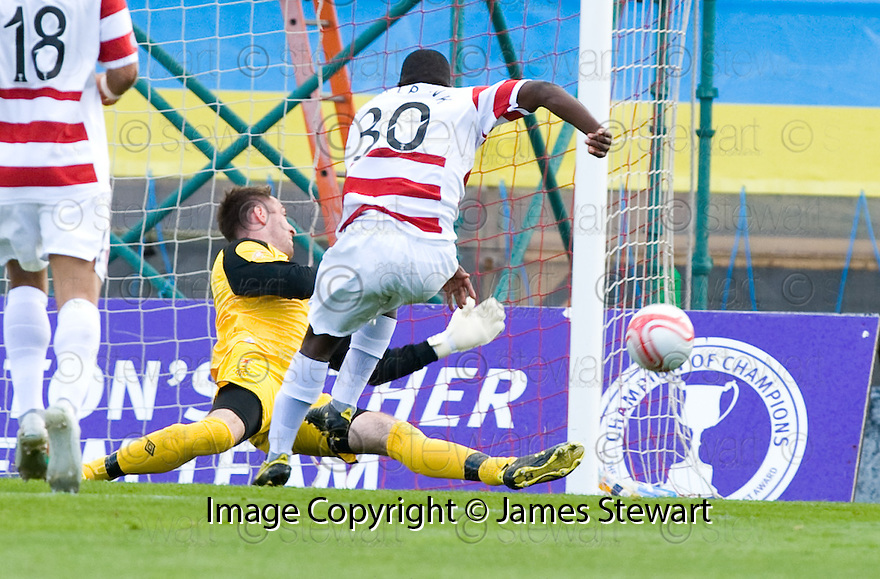 11/09/2010   Copyright  Pic : James Stewart.sct_jsp018_hamilton_v_rangers  .:: ALLAN MCGREGOR SAVES FROM NIGEL HASSELBAINK ::.James Stewart Photography 19 Carronlea Drive, Falkirk. FK2 8DN      Vat Reg No. 607 6932 25.Telephone      : +44 (0)1324 570291 .Mobile              : +44 (0)7721 416997.E-mail  :  jim@jspa.co.uk.If you require further information then contact Jim Stewart on any of the numbers above.........
