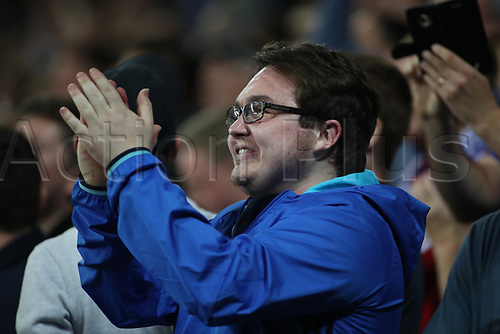26th September 2017, Cardiff City Stadium, Cardiff, Wales; EFL Championship football, Cardiff City versus Leeds United; Cardiff City fan celebrates as his team take the lead