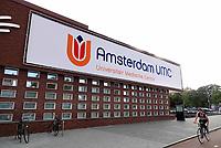 Nederland Amsterdam - September 2018. VU Medisch Centrum. Fusie met het Academisch Medisch Centrum (AMC). Op het witte doek staat het nieuwe logo. Amsterdam UMC. Foto Berlinda van Dam / Hollandse Hoogte