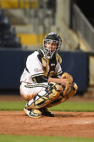 Vanderbilt Commodores catcher Karl Ellison (25) looks to the dugout during a game against the Indiana State Sycamores on February 20, 2015 at Charlotte Sports Park in Port Charlotte, Florida.  Vanderbilt defeated Indiana State 3-2.  (Mike Janes/Four Seam Images)