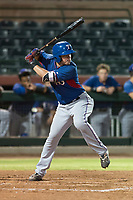 AZL Rangers right fielder Beder Gonzalez (8) at bat during an Arizona League game against the AZL Giants Black at Scottsdale Stadium on August 4, 2018 in Scottsdale, Arizona. The AZL Giants Black defeated the AZL Rangers by a score of 6-3 in the second game of a doubleheader. (Zachary Lucy/Four Seam Images)