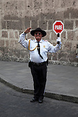 Man with South American Stop Sign, Arquipa, Peru