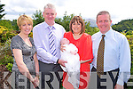 Ben Cronin, Flesk Grove, Killarney, pictured with his parents Sean and Joan and godparents Brenda Kelliher and James Cronin at his christening celebrations held in the Heights Hotel, Killarney on Saturday.