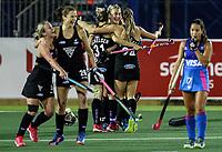 Blacksticks players celebrate during the World Hockey League quarter final match between Argentina and New Zealand. North Harbour Hockey Stadium, Auckland, New Zealand. Wednesday 22 November 2017. Photo:Simon Watts / www.bwmedia.co.nz