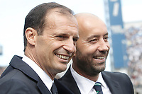 Calcio, Serie A: Reggio Emilia, Mapei stadium, 17 settembre 2017.<br /> Juventus' coach Massimiliano Allegri (l) and Sassuolo's coach Cristian Bucchi (r) pose for a photo before the start of the Italian Serie A football match between Sassuolo and Juventus at Reggio Emilia's Mapei stadium, September 17, 2017.<br /> UPDATE IMAGES PRESS/Isabella Bonotto