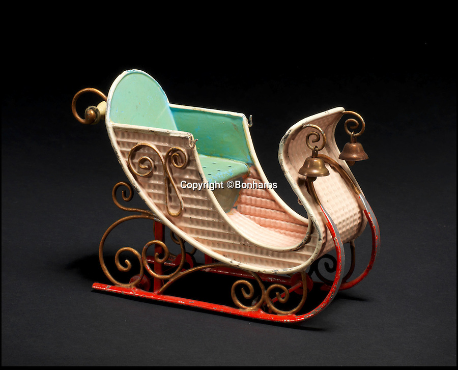BNPS.co.uk (01202 558833)<br /> Pic: Bonhams/BNPS<br /> <br /> ***Please Use Full Byline***<br /> <br /> Rare Marklin Tinplate Sleigh. <br /> <br /> <br /> A creepy collection of almost 100 'lifelike' dolls modelled on children has emerged for sale with a whopping half a million pounds price tag. <br /> <br /> The eerie-looking toys were made in Germany in the early 20th century as dollmakers strived to produce dolls with realistic human features.<br /> <br /> The collection of 92 dolls, which includes some of the rarest ever made, has been pieced together by a European enthusiast over the past 30 years.<br /> <br /> It is expected to fetch upwards of £500,000 when it goes under the hammer at London auction house Bonhams tomorrow (Weds).
