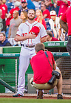 22 May 2015: Washington Nationals pitcher Aaron Barrett partakes in a pre-game stand-off against Philadelphia Phillies pitcher Aaron Harang (not pictured) prior to a game at Nationals Park in Washington, DC. The Nationals defeated the Phillies 2-1 in the first game of their 3-game weekend series. Mandatory Credit: Ed Wolfstein Photo *** RAW (NEF) Image File Available ***