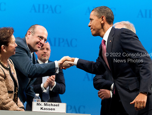 United States President Barack Obama shakes hands with former AIPAC President Howard Friedman of Baltimore, Maryland prior to delivering remarks at the American Israel Public Affairs Committee (AIPAC) Policy Conference in Washington, D.C. on Sunday, March 4, 2012..Credit: Ron Sachs / Pool via CNP