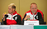 Austria, Kitzbuhel, Juli 16, 2015, Tennis, Davis Cup, Draw, Dominic Thiem (AUT) and captain Stefan Koubek<br /> Photo: Tennisimages/Henk Koster