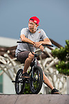 Red Bull BMX athlete Chiao Hung Cheng poses for a photo session on 28th October 2014 in Taipei, Taiwan. Photo by Victor Fraile / Power Sport Images