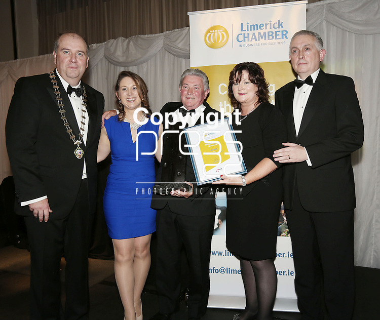 21/11/2014  WITH COMPLIMENTS.   Attending the Chamber Presidents Dinner and the Limerick Chamber Regional Business Awards 2014 in the Strand Hotel were Cathal Treacy, Limerick Chamber President with Dervla Gleeson, Michael Gleeson and Grainne Gleeson, Michael Gleeson Shoes Ltd.. joint winner of the Best Retail & Hospitality Business Award & Liam Hession, BDO(Best Retail & Hospitality Business Award Sponsor).  Picture Liam Burke/Press 22