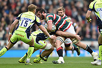 Dom Barrow of Leicester Tigers takes on the Sale Sharks defence. Aviva Premiership match, between Leicester Tigers and Sale Sharks on April 29, 2017 at Welford Road in Leicester, England. Photo by: Patrick Khachfe / JMP