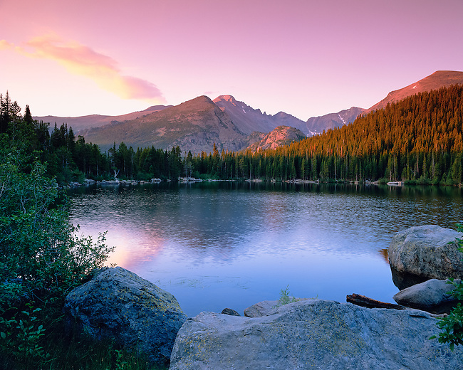 summer sunrise at Bear Lake in Rocky Mountain National Park, Colorado, USA