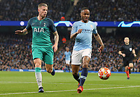 Manchester City's Raheem Sterling vies for possession with Tottenham Hotspur's Toby Alderweireld<br /> <br /> Photographer Rich Linley/CameraSport<br /> <br /> UEFA Champions League - Quarter-finals 2nd Leg - Manchester City v Tottenham Hotspur - Wednesday April 17th 2019 - The Etihad - Manchester<br />  <br /> World Copyright © 2018 CameraSport. All rights reserved. 43 Linden Ave. Countesthorpe. Leicester. England. LE8 5PG - Tel: +44 (0) 116 277 4147 - admin@camerasport.com - www.camerasport.com
