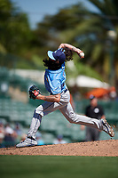 Tampa Bay Rays relief pitcher Hunter Wood (44) delivers a pitch during a Grapefruit League Spring Training game against the Baltimore Orioles on March 1, 2019 at Ed Smith Stadium in Sarasota, Florida.  Rays defeated the Orioles 10-5.  (Mike Janes/Four Seam Images)