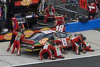 Apr 28, 2007; Talladega, AL, USA; Nascar Busch Series driver Brad Coleman (18) pits during the Aarons 312 at Talladega Superspeedway. Mandatory Credit: Mark J. Rebilas