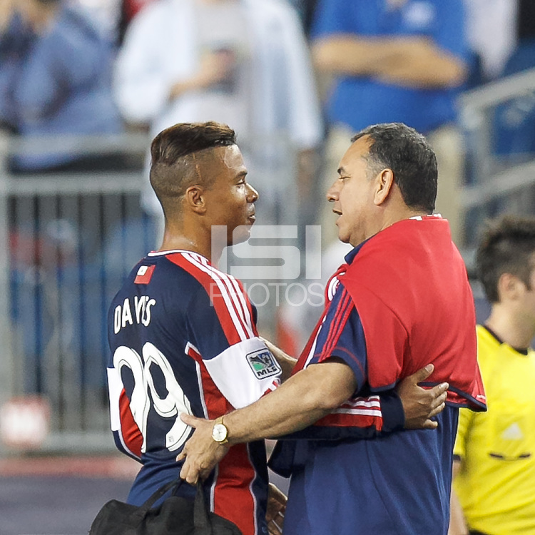 New England Revolution substitute forward Charlie Davies (99). In a Major League Soccer (MLS) match, the New England Revolution (blue) defeated Chicago Fire (red), 2-0, at Gillette Stadium on August 17, 2013.