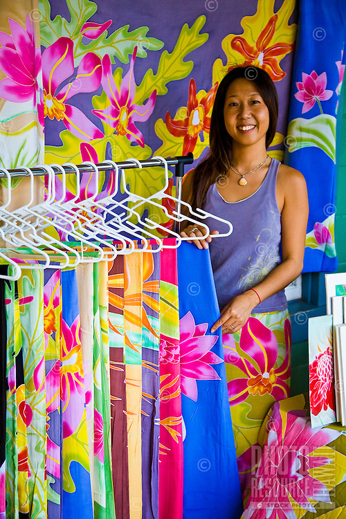 Sarong vendor at North Shore Farmers Market on the North Shore of Oahu, Hawaii