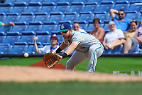 Hartford Yard Goats first baseman Brian Mundell (15) stretches for a throw during a game against the Binghamton Rumble Ponies on July 9, 2017 at NYSEG Stadium in Binghamton, New York.  Hartford defeated Binghamton 7-3.  (Mike Janes/Four Seam Images)