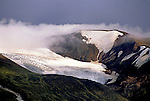Snowy volcano crater in a remote part of Iceland.