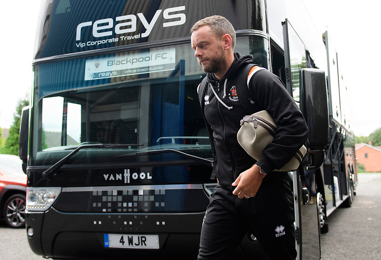 Blackpool's Jay Spearing gets off the team bus after arriving at the ground<br /> <br /> Photographer Chris Vaughan/CameraSport<br /> <br /> The EFL Sky Bet League One - Coventry City v Blackpool - Saturday 7th September 2019 - St Andrew's - Birmingham<br /> <br /> World Copyright © 2019 CameraSport. All rights reserved. 43 Linden Ave. Countesthorpe. Leicester. England. LE8 5PG - Tel: +44 (0) 116 277 4147 - admin@camerasport.com - www.camerasport.com