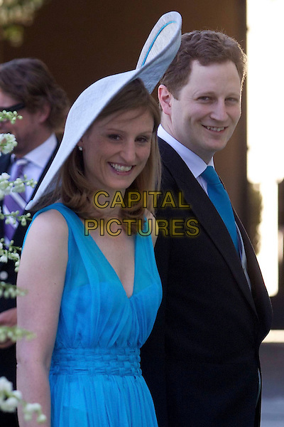 Georg Friedrich, Prince of Prussia, wife Princess Sophie, wedding of Albert and Mary Brenninkmeijer Carolina Princess de Bourbon de Parma, Basilica of San Miniato al Monte, Florence, Italy, 16 June 2012.royals royalty half length blue dress black suit hat.CAP/PPG/JH.©Jens Hartmann/People Picture/Capital Pictures
