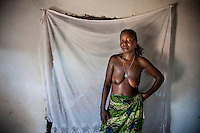 Traditional healer Rosa Paizone after a spiritual ceremony.