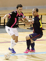 Caja Segovia's Alejandro Palomeque (l) and FC Barcelona Alusport's Wilde Gomes during Spanish National Futsal League match.November 24,2012. (ALTERPHOTOS/Acero) /NortePhoto