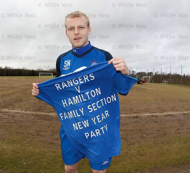 Steven Naismith promotes the Rangers family section's new year party at the Hamilton match
