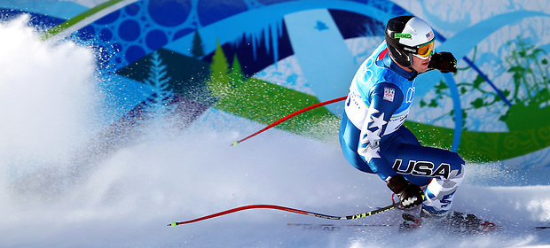 USA's Bode Miller crosses the finish line after the downhill portion of the men's super combined at the XXI Olympic Winter Games on Sunday, February 21, 2010 in Whistler, British Columbia.