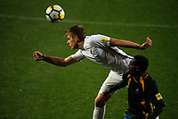 Sam Brotherton wins a header during the first leg of FIFA World Cup Russia 2018 qualifying football match between the New Zealand All Whites and Solomon Islands at QBE Stadium in Albany, New Zealand on Friday, 1 September 2017. Photo: Dave Lintott / lintottphoto.co.nz