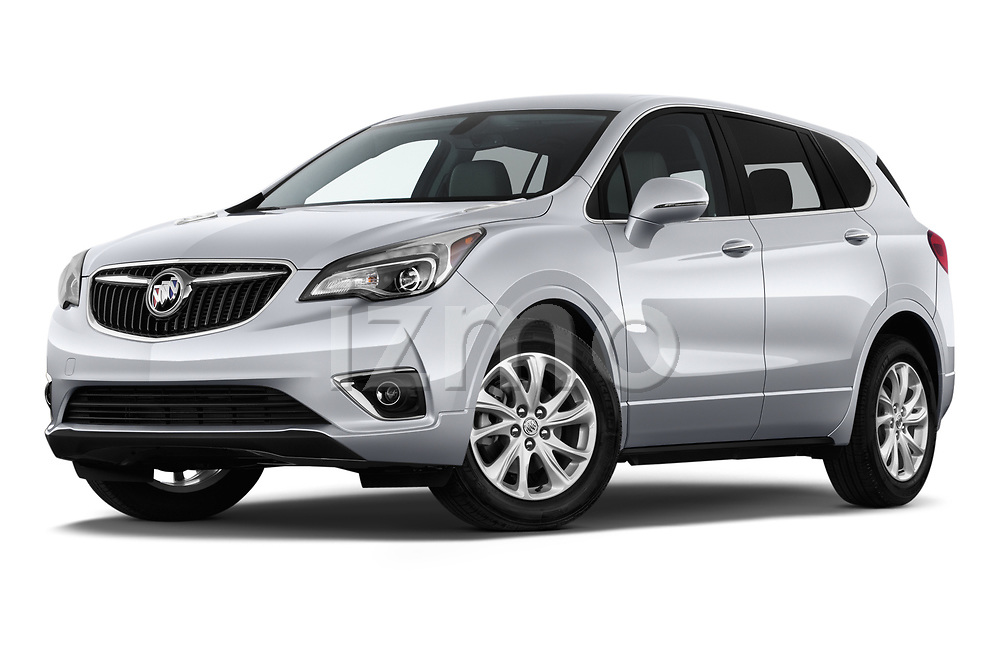 Stock pictures of low aggressive front three quarter view of a 2020 Buick Envision Preferred FWD 5 Door SUV