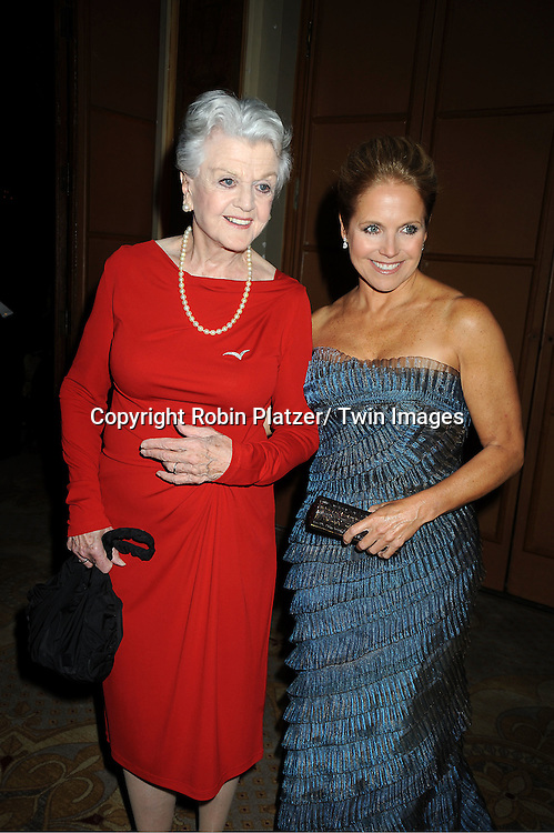 Angela Lansbury and Katie Couric in Carmen Marc Valvo blue dress attend The 2011 Living Landmarks Celebration presented by The New York Landmarks Conservancy on .November 2, 2011 at The Plaza Hotel in New York City.  .The honorees are Lewis B Cullman, Louise Kerz Hirschfeld, Angelia Lansbury, Danny Meyer and Regis Philbin.