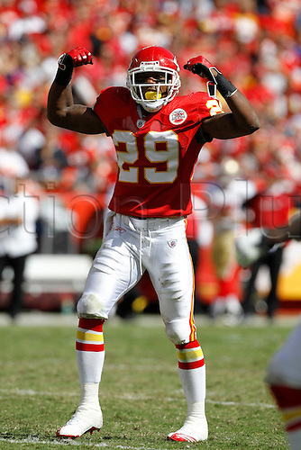 26 September 2010: Chiefs safety Eric Berry does his impression of a body builder with a double bicep pose. The Kansas City Chiefs defeated the San Francisco 49ers 31 to 10 at Arrowhead Stadium in Kansas City, Missouri.