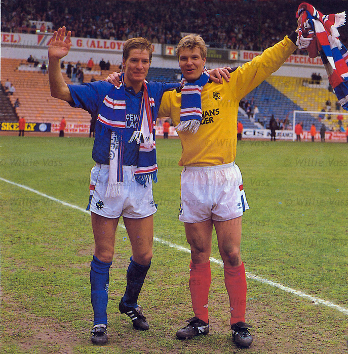 Richard Gough and Chris Woods celebrate winning the 1988-89 scottish premier league title at Ibrox