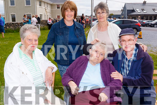 seated L-R Eleanor Herlihy, Kitty May Lynch&Martin Finn, back L-R Eileen Sheehy&Mary Ellen Maunsell at the opening of the new Maharees heritage trail last Saturday morning.